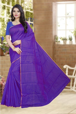 Purple printed poly cotton saree with blouse