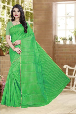 Green printed poly cotton saree with blouse