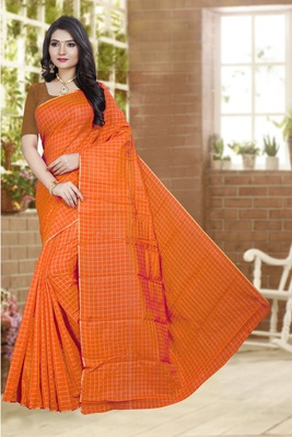 Orange printed poly cotton saree with blouse