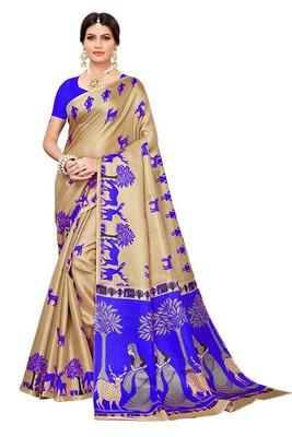 Beige printed khadi saree with blouse