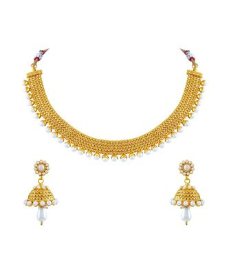 Asmitta Alluring Gold Plated Choker Style Necklace Set For Women