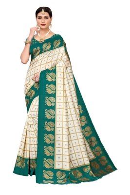 Off white printed bhagalpuri silk saree with blouse