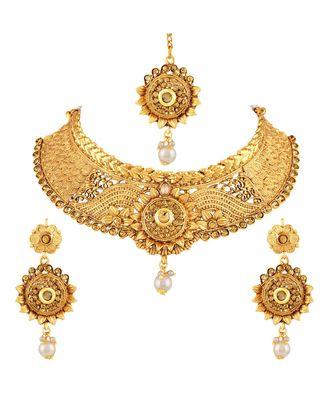 Asmitta Elegant Lct Stone Gold Plated Choker Style Necklace Set With Mangtikka For Women