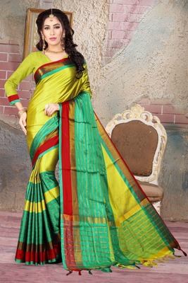 Olive printed cotton silk saree with blouse