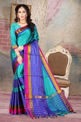 Teal printed cotton silk saree with blouse