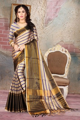 Fawn printed cotton silk saree with blouse