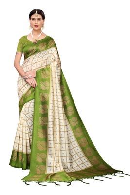 Off white printed bhagalpuri saree with blouse
