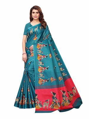 Teal printed khadi saree with blouse