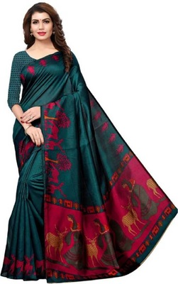 Dark turquoise printed khadi saree with blouse
