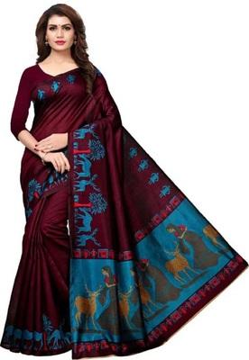Dark magenta printed khadi saree with blouse