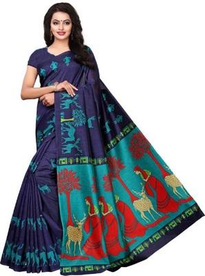 Navy blue printed khadi saree with blouse