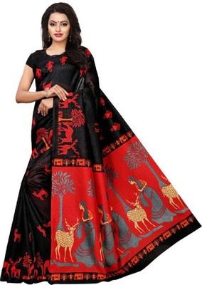 Black printed khadi saree with blouse