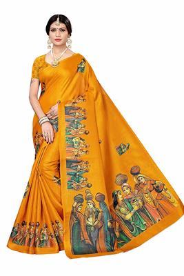 Yellow printed khadi saree with blouse