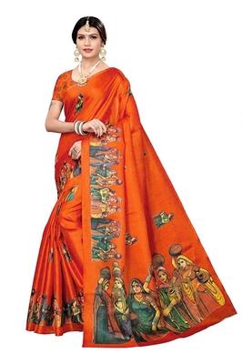 Orange printed khadi saree with blouse