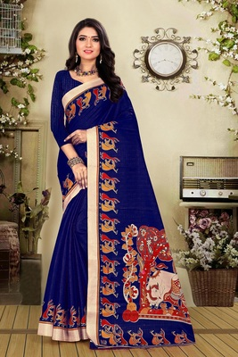 Blue printed khadi saree with blouse