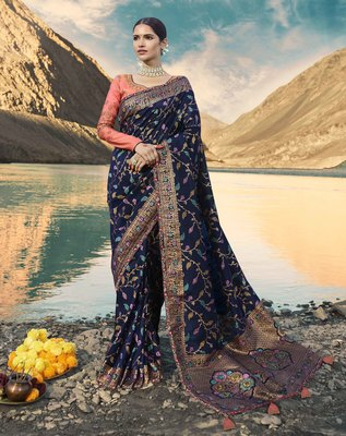 Navy blue embroidered raw silk saree with blouse