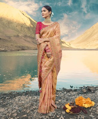 Peach embroidered raw silk saree with blouse