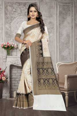 White Woven Kanchipuram Silk Saree With Blouse