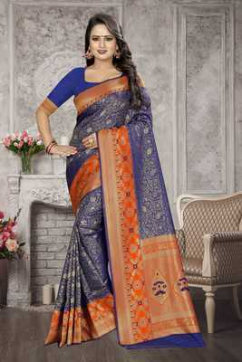 Navy Blue Woven Kanchipuram Silk Saree With Blouse