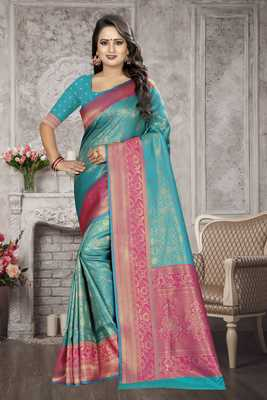 Sky blue woven kanchipuram silk saree with blouse