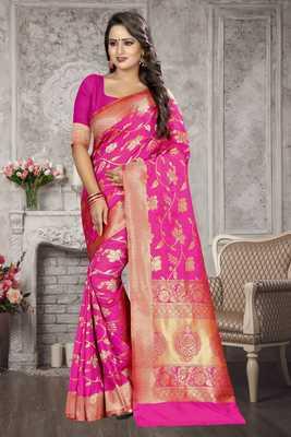 Pink woven kanchipuram silk saree with blouse