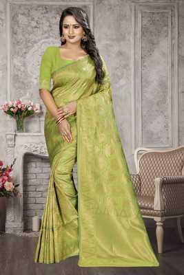 Light green woven kanchipuram silk saree with blouse