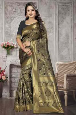Black woven kanchipuram silk saree with blouse