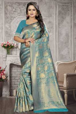 Turquoise woven kanchipuram silk saree with blouse