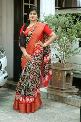 Pochampally ikkat Multi color soft cotton sarees with 5inch zari borders