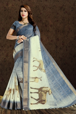 Blue printed linen saree with blouse