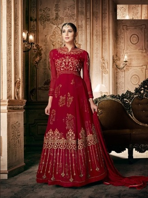 Red embroidered georgette salwar