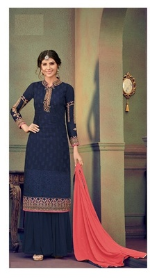 Blue embroidered brasso salwar
