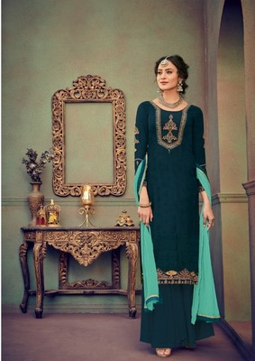 Dark-green embroidered brasso salwar