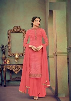 Light-red embroidered brasso salwar