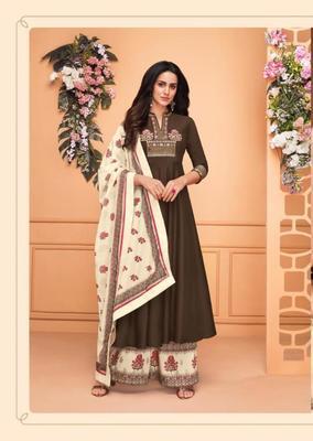 Brown embroidered silk salwar