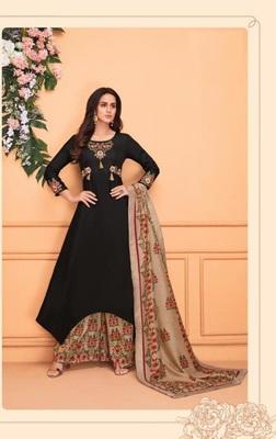 Black embroidered silk salwar