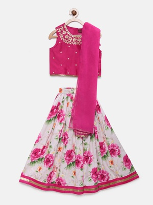 Pink embroidered polyester girls-top-bottom
