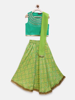Green embroidered polyester girls-top-bottom