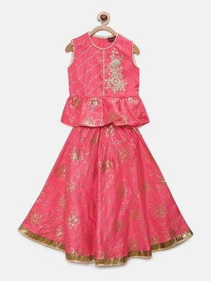 Pink embroidered art silk girls-top-bottom