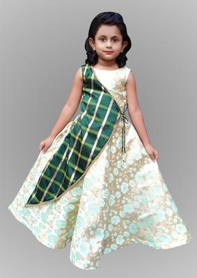 Kids Green Long Cowl Gown