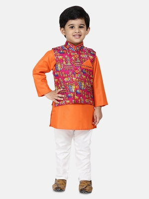 Orange Plain Blended Cotton Boys Kurta Pyjama