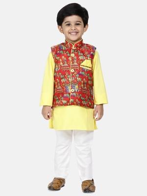 Yellow Plain Blended Cotton Boys Kurta Pyjama