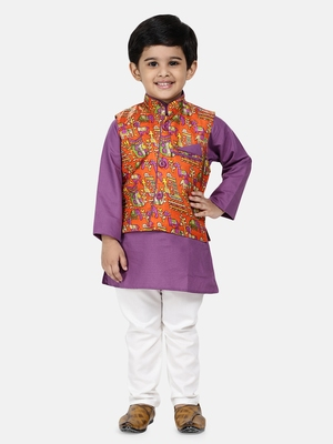 Purple plain blended cotton boys-kurta-pyjama