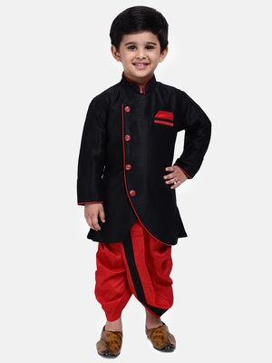 Black plain dupion silk boys-dhoti-kurta