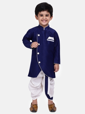 Blue Plain Dupion Silk Boys Dhoti Kurta