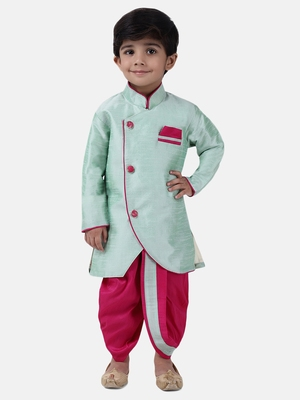 Green Plain Dupion Silk Boys Dhoti Kurta