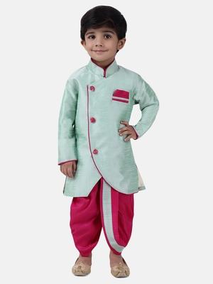 Green plain dupion silk boys-dhoti-kurta