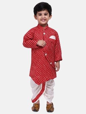 Red Plain Blended Cotton Boys Dhoti Kurta