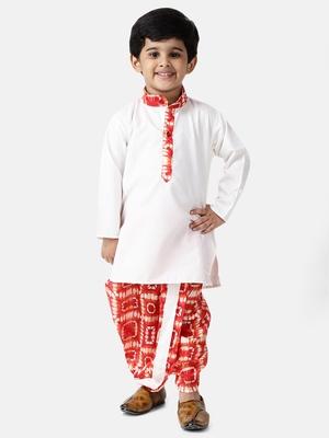 White plain blended cotton boys-dhoti-kurta