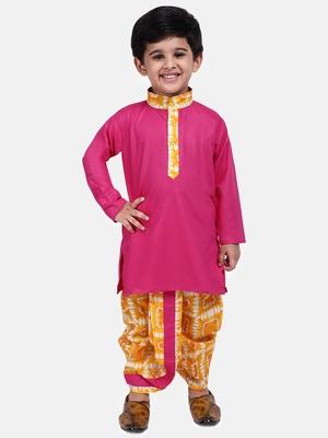 Pink plain blended cotton boys-dhoti-kurta